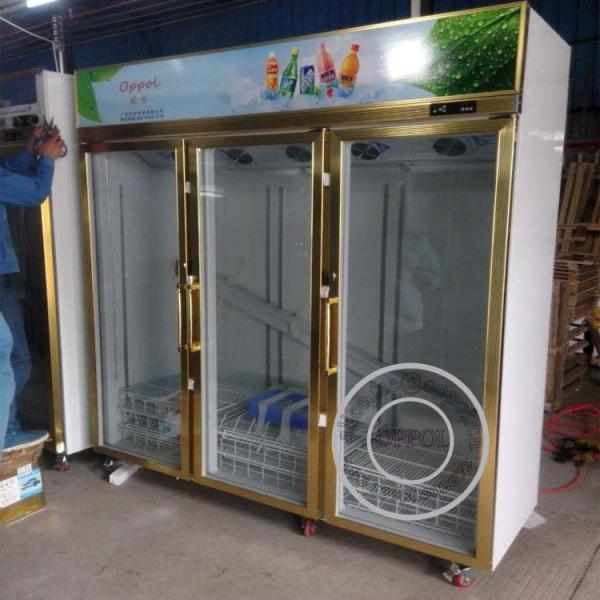 Quality OP-A408 Triple Glass Door Gold Color Luxurious Supermarket Glass Door Fridge wholesale