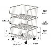 Cheap Stackable Rolling Steel Rack With Wheels , Metal Stainless Steel Kitchen Storage Shelves for sale