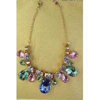 Cheap Gold chain Rhinestone handmade necklace , handcrafted beaded necklaces for sale