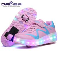 Cheap Seven Color Changing LED Light Up Sneaker Shoes with Two Wheels wholesale