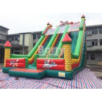 Cheap Tom / Jack 14m Length Double Lane Slip Inflatable Dry Slide With Air Blower for sale