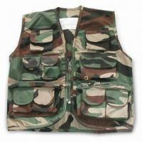 Cheap Free Camo Vest with Pockets, T/C Fabric, Velcro, Button, Zipper, and Lables for sale