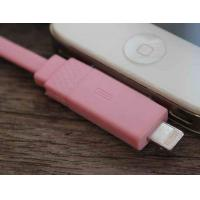 Cheap IPhone4S / IPhone5 Flat Micro USB Cable 1M TPE 2 In 1 Pink For Sync Data wholesale