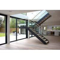 Cheap Interior wooden straight staircase with glass railing free design for sale