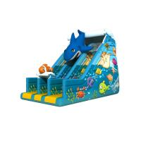 Cheap Dark Blue Undersea World Lovely Dolphin Inflatable Dry Slide , 3 Years Guarantee for sale
