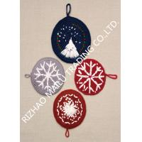 Cheap Round Shape Handmade Crochet Accessories , Snowflake Pattern Kitchen Knitted Dishcloths Free Patterns for sale