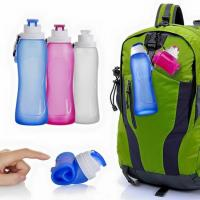 China collapsible folingsilicone camping water bottle hot/freeze water bottle can hold ice cube on sale