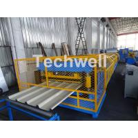 Cheap Customized Trapezoidal Profile Roof Roll Forming Machine With Hydraulic Post Cutting Device for sale