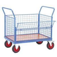 Cheap 2 Handles Light Blue Wire Mesh Cart With Swivel Castors For Factory for sale