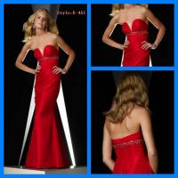 Cheap Floor-length red strapless E-451 sequin formal evening dress for sale