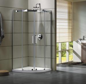 Semi - Frameless Curved Glass Shower Door Enclosures For Bathroom 100 X 100 X 195 cm