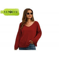 Cheap V Neck Loose Pullover Sweater Autumn Sustainable Apparel for sale