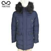 China Long Mens Warm Padded Jackets With Fix Fur Hoody Side Pockets Thermal Tested on sale