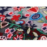 China Black Colorful Flowers Embroidery Lace Hand Beaded Fabric For Curtain / Garment on sale