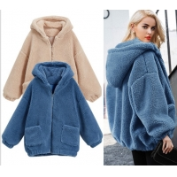 China Womens Autumn Winter DTM Hooded Open Front Lamb Wool Coat on sale