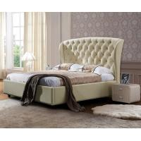 China Full Size Linen Fabric Bed , Beige Upholstered King Bed Modern Design on sale