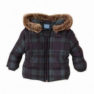 Cheap Plaid Puffer Jacket for Rain, Sleet or Snow, 100% Polyester Taffeta, Removable Faux-fur Hood Trim for sale