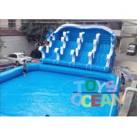 Cheap Giant Blue Inflatable Play Park / Inflatable Theme Park With 4 Lanes Slide for sale