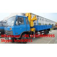 DONGFENG 4x2 LHD/RDH 190HP diesel Folding Crane Truck 8tons-10tons for sale, cheapest price China 6.3tons truck crane
