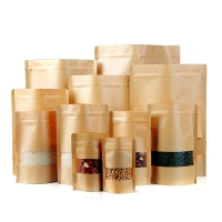 China Stand Up 16*22cm Zipper Kraft Paper Bag With Window on sale