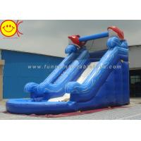 Cheap Two Slides Blue Sea PVC Inflatable Water Slide With Pool For Adults / Kids for sale