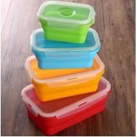 Cheap Set of 4 Collapsible Silicone Food Storage Container FDA silicone lunch box for kids for sale