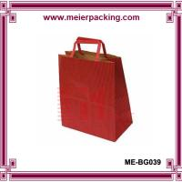 Cheap Factory hot selling red color printing kraft paper carrier shopping bag with paper handle for sale