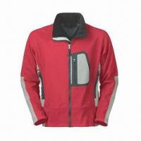 Cheap Men's Outdoor Wear with Waterproof Zipper, Laser Cut Pocket and 3-layer Soft Shell for sale