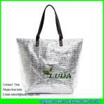 Cheap LUDA metallic beach straw shopping bag balck leather designer beach totes for sale