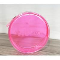 Cheap Pink Cylinder Shaped Transparent Cosmetic Bag Clear Travel Makeup Bag In Round for sale
