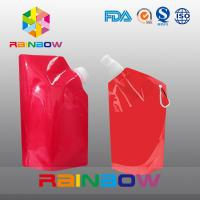 China 350ml 500ml 1L  plastic Flask Water green red color printed Bottle Bag with big Cap on sale