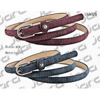 1cm Width Special Fabric PU Thin Womens Belt With Metal Studs In The Loop