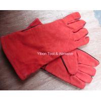 "Cheap 13"" Red color Leather Welding Gloves wholesale"