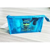 Cheap Bright Blue Waterproof Zipper PVC Cosmetic Bag , Transparent Vinyl Make Up Pouch for sale