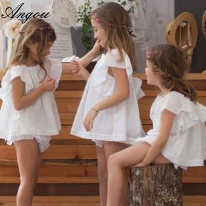 Angou Ins Baby Girls Sets Flare Sleeve Top and ruffles Pants 2pcs Toddler Clothing Sets