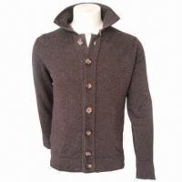 Cheap Men's Leisure Woolen Cardigan/Jacket/Coat, Comfortable and Fashionable, Comes in Brown for sale