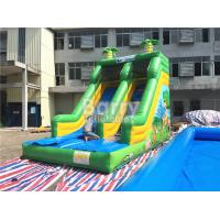 Cheap Single Lane Green Jungle Commercial Inflatable Slide Zoo Printing For Children for sale