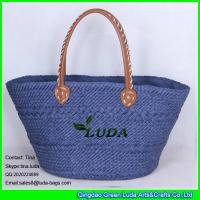 Cheap LUDA handmade tote bags navy blue pu leather handles paper straw shopping bag for sale