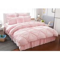 Cheap Pink / Blue / White Ruched Home Comforter Bedding Sets 4 Pcs 100% Cotton wholesale