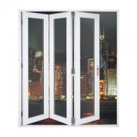 China Waterproof Aluminum Frame Folding Glass Patio Doors With Louver on sale