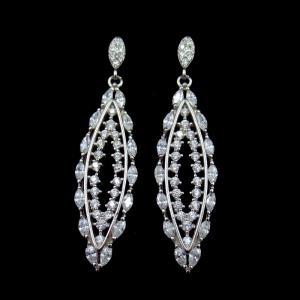 Wedding Design Silver Chandelier Earrings / Cubic Zirconia Drop Earrings For Bridal