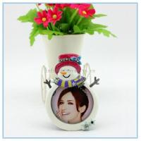 Cheap Shinny Gifts Alloy materials Snowman photo frame for gifts promotion for sale