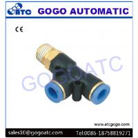 China three-joint thread side 3 way hose connector 4mm 1/8 BSP tee fitting PD 4-01 triangle for pneumatic air valve on sale