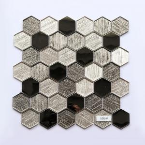 China Hexagon Mosaic Glass Mosaic Tiles Metal Element Modern Kitchen Splashback Tiles on sale