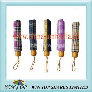 China 21 3 Fold Compact Plaid Umbrella on sale