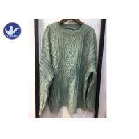 Cheap Korean Stylish Crew Neck Cable Knit Cardigan , Big Loose Winter Wool Jumpers for sale