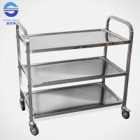 Cheap Three Tier Serving Carts On Wheels , Food Serving Trolley in Stainless Iron for sale
