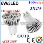 Cheap 100pcs/lot High Power Dimmable GU10 E27 MR16 E14 3x2W 6W Spotlight Lamp 85-265V Light Bulb Downlight for sale