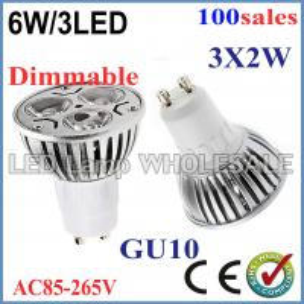 Quality 100pcs/lot High Power Dimmable GU10 E27 MR16 E14 3x2W 6W Spotlight Lamp 85-265V Light Bulb Downlight wholesale