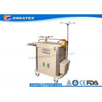 Buy cheap Utility hospital crash cart trolley With four plastic - steel columns , Dust basket from wholesalers